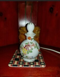 Oriental Hand Painted Perfume Bottle With Large Dauber And Cork Made In Japan