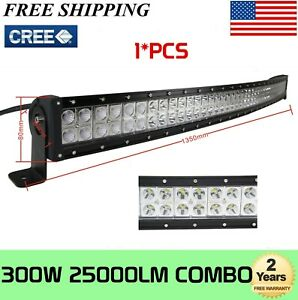 Curved 52inch 300w Led Work Light Bar Combo Truck Offroad For Suv Boat Jeep Ute