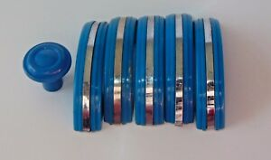 6 Handles Blue Bakelite Knobs Drawer Or Door Pulls Chrome Strip 63 Grams 3 Inch