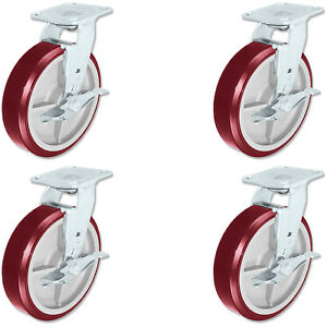 Casterhq Heavy Duty Polyurethane Swivel Casters With Brake 8 Inch X 2 Inch