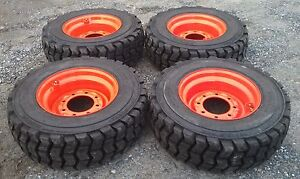 4 New 10x16 5 Skid Steer Tires Rims For Bobcat 10 16 5 10 Ply non Directional
