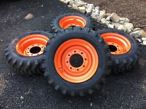 4 New 10 16 5 Skid Steer Tires wheels rims For Bobcat S450 S510 S530