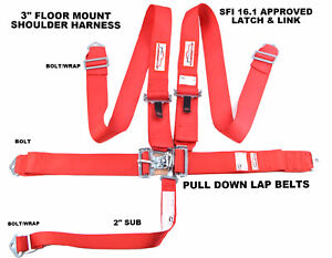 Red Safety Harness 5 Point Sfi 16 1 Racing Latch Link 3 Floor Mount Bolt In