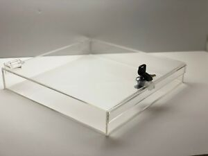 Acrylic Square Countertop Display Case Lock Box 12 X 12 X 4 Box Display