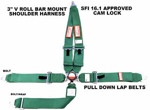 Dark Green Safety Harness Racing Sfi 16 1 5 Point V Roll Bar Mount 3 Cam Lock