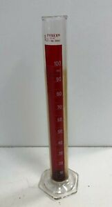 Pyrex 3042 Lifetime Red Graduated Mixing Cylinder 100 Ml Chemistry Lab Glassware