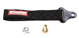 Universal Racing Tow Strap Tow Hook Black Checkerboard Racerdirect