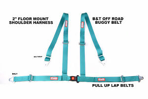 Buggy Belt Bolt In Floor Mount Seat Belt 4 Point 2 Racing Harness Turquoise