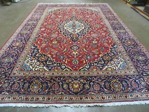 8 X 11 Vintage Hand Made Persian Kashan Wool Rug Carpet Iran Red Nice 816