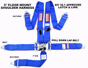 Floor Mounted Blue Safety Harness Sfi 16 1 5 Point 3 Latch Link Seat Belt