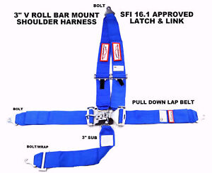 Blue Safety Harness 5 Point Sfi 16 1 V Roll Bar Mount 3 Racing Latch