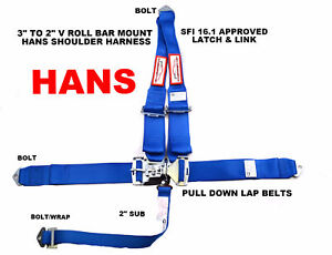 Blue Safety Harness Hans Racing Sfi 16 1 5 Point V Mount 3 Latch