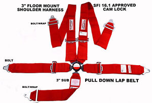 Red Safety Harness Sfi 16 1 Racing 5 Point Seat Belt Floor Mount 3 Cam Lock
