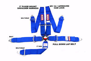 Blue Safety Harness Sfi 16 1 Racing 5 Point Seat Belt Floor Mount 3 Cam Lock
