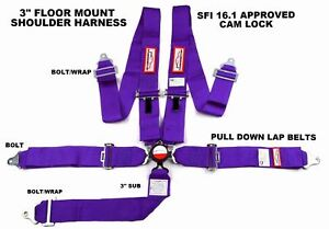 Purple Safety Harness Sfi 16 1 Racing 5 Point Floor Mount 3 Cam Lock Seat Belt