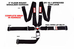 Black Safety Harness All Wrap 5 Point Floor Mount 3 Racing Cam Lock Sfi 16 1
