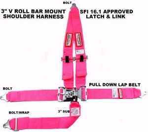 Pink Safety Harness Sfi 16 1 Racing 5 Point V Roll Bar Mount 3 Latch