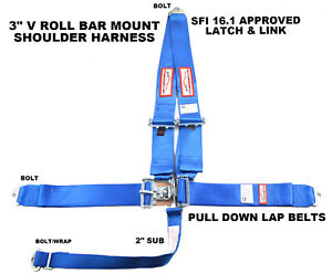 Blue Safety Harness 5 Point Racing Harness Sfi 16 1 Latch Link 3 Seat Belt