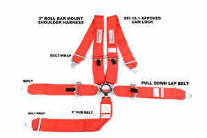 Red Safety Harness 5 Point Racing Seat Belt 3 Sfi 16 1 Cam Lock Roll Bar Mount