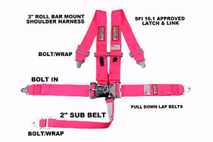 Pink Safety Harness Racing 5 Point Sfi 16 1 Latch Link 3 Racing Seat Belt