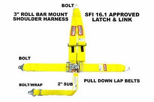 Yellow Safety Harness Seat Belt 5 Point Sfi 16 1 Latch Link Racerdirect