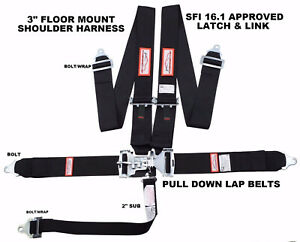 Black Safety Harness 5 Point Sfi 16 1 Racing Latch Link 3 Floor Mount Bolt In