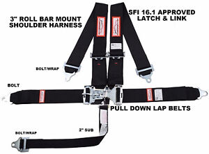 Black Safety Harness 5 Point Sfi 16 1 Racing Latch Link 3 Roll Bar Mount