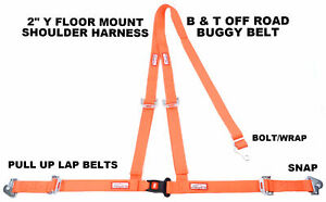 Off Road Seat Belt 3 Point Snap Racing 2 Buggy B T Y Harness Orange