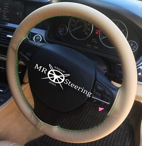 Fits Vw Eos 2006 2014 Beige Leather Steering Wheel Cover Green Double Stitching