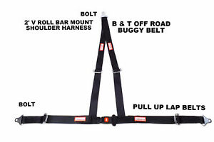 Racing Harness 3 Point 2 V Bolt In Seat Belt Off Road Buggy Black Racerdirect