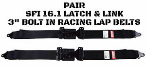 Drift Car 3 Wide Seat Belt Two 2 Point Lap Belt Racing Latch Link Pair Black