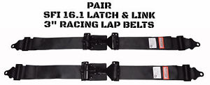 Buggy Seat Belts 2 Point Lap Belts 3 Wide Racing Latch Link Pair Black