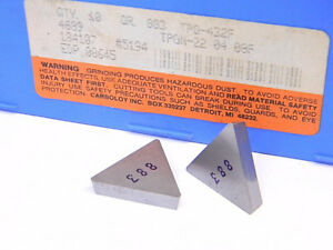 New Surplus 10pcs Carboloy Tpg 432f Grade 883 Carbide Inserts