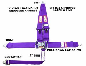 Racing Harness Seat Belt 5 Point Sfi 16 1 Latch Link Racerdirect Purple