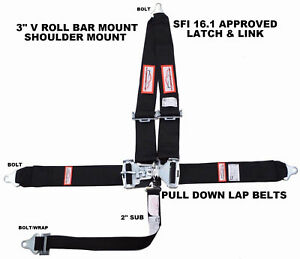 Racing Harness Seat Belt 5 Point Black Sfi 16 1 Latch Link Racerdirect