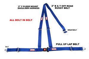 Buggy Off Road 2 Seat Belt 3 Point B T Y Harness Blue All Bolt Harness Blue