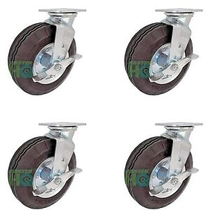 Casterhq 8 X 2 3 4 Swivel Plate Caster brakes foam Filled Set Of 4