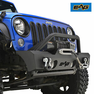 Eag 07 18 Jeep Wrangler Jk Front Bumper Stubby Black With Winch Plate And D ring