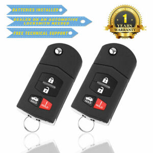 2 For Mazda 3 2010 2011 2012 2013 Keyless Entry Remote Car Key Fob Replacement