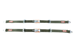 Military Jeep Pair 2 Latch Link Seat Belt 2 Point Lap Belts Military Green