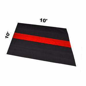 The Thin Red Line Car Garage Mat 10 X 10 Fire Rescue Fighter First Responder