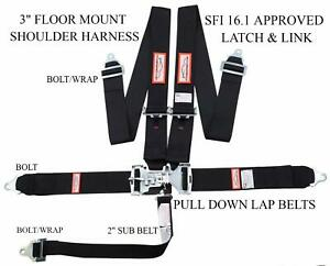 Racerdirect New Sfi 16 1 Latch Link 5 Point Racing Harness Seat Belt Black