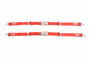 Buggy Seat Belts Pair 2 Latch Link Seat Belt 2 Pt Racing Lap Flame Red