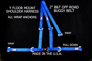 Rjs Racing 2 Buggy Off Road Seat Belt 3 Point B t Y Harness Blue Sand Rail
