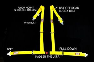 Rjs Racing 2 Buggy Off Road Seat Belt 4 Pt B t Floor Harness Yellow Sand Rail