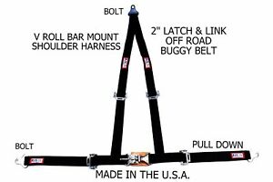 Rjs Racing 2 Buggy Off Road Seat Belt 3 Point V Harness Bolt In Black Sand Rail