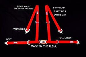 Rjs Racing 2 4 Pt Latch Link Floor Mount Harness Buggy Belt Red Sand Rail