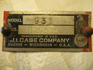 Case 930 Comfort King Tractor Tag
