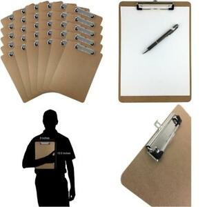 30 Pack Clipboards 9 X 12 5 Clip Hardboard Heavy Duty Office Brown Board Lot