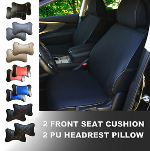 5a805p Black Fabric 2 Front Car Seat Cover Cushions 2 Pu Head Pillow For Tacoma